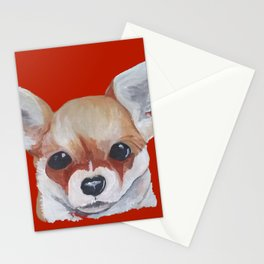 Apple Head Dog on Red Stationery Cards