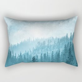 Here Comes The Sun - Misty Forest - Turquoise Rectangular Pillow