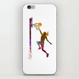 Young woman basketball player 04 in watercolor iPhone Skin