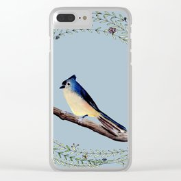 Little bird with whimsical flower wreath Clear iPhone Case