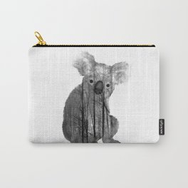 Misty Forest Koala Bear - black and white Carry-All Pouch