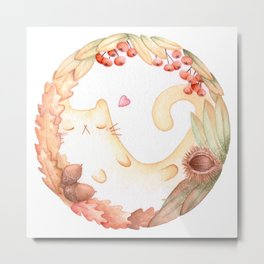 The magic circle of Autumn Cat Metal Print