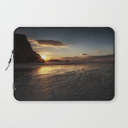 Sunset and wet sand at Worms Head Laptop Sleeve