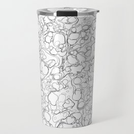 Black and White Ink Pen Lines Bubbles Pattern Travel Mug