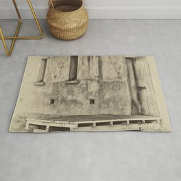Antique plate style old loading dock Rug