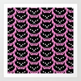 Mid Century Modern Cat Pink Black Art Print