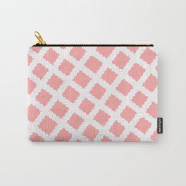 Coral Pink & White Diagonal Grid Pattern- Black & Pink - Mix & Match with Simplicity of Life Carry-All Pouch