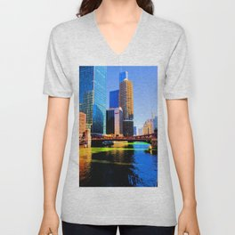 Clark St. Bridge, Chicago (Pop) Unisex V-Neck