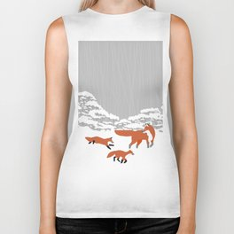 Foxes - Winter forest Biker Tank