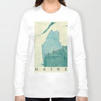 maine Long Sleeve T-shirts featuring Maine State Map Blue Vintage by City Art Posters