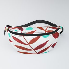 Watercolor berries and branches - red and turquoise Fanny Pack