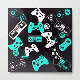 Video Games light blue on black Metal Print