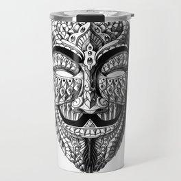 Ornate Anonymous Mask Travel Mug