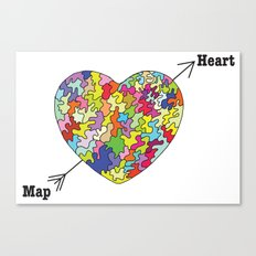 Heart Map Canvas Print