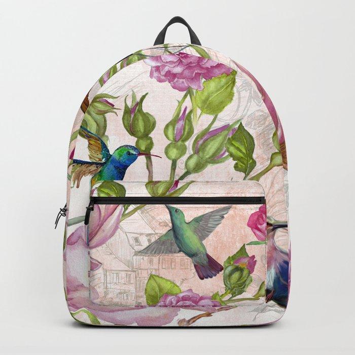 Vintage Roses and Hummingbird Pattern Backpack