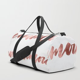 Amour Rose Gold Marble Love Quote Typography Duffle Bag