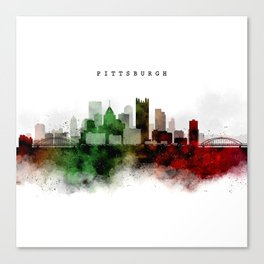 Pittsburgh Watercolor Skyline Canvas Print