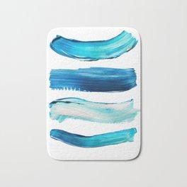 Blue Swash Paint Print Bath Mat