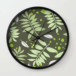 Lush Leaves Collection - leaves in green tones Wall Clock