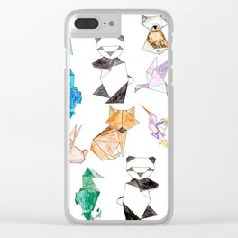 Cute Hand Drawn Geometric Paper Origami Animals Clear iPhone Case