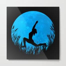 Yoga Moon Posture - Blue Metal Print