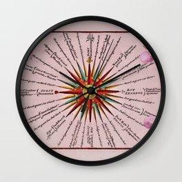 1739 Compass Rose Old World Map by Adam Friedrich Zurner  - Johann Christoph Weigel Wall Clock