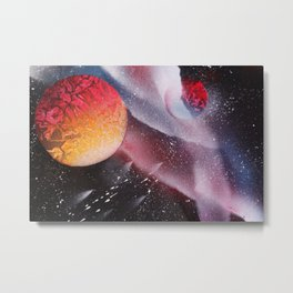 Red planets against the Milky Way with Meteor Shower Metal Print