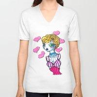 cinderella V-neck T-shirts featuring Cinderella by McKenzie Davis