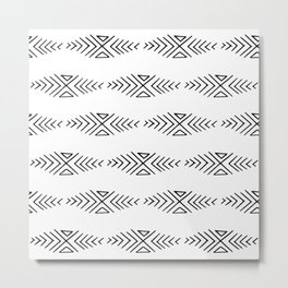 mudcloth 11 minimal textured black and white pattern home decor minimalist beach Metal Print