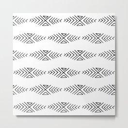 mudcloth 11 minimal textured black and white pattern home decor minimalist beach Metal Print