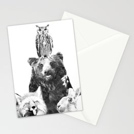 Black and White Woodland Animals Stationery Cards
