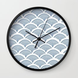 blue minimal, mid century, indian motif print Wall Clock