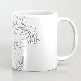 Small Wildflowers Minimalist Line Art Coffee Mug