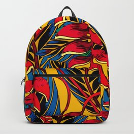Jungle Glam Falling Leaves Blue Gold Backpack