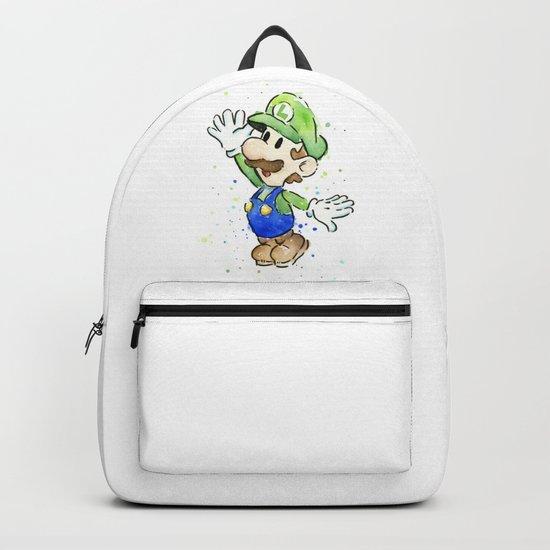 Luigi Watercolor Mario Nintendo Art Backpack