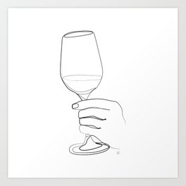 """"""" Kitchen Collection """" - Hand Holding Wine Glass Art Print"""