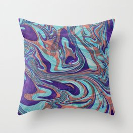Colorful Abstract Marble Swirls Throw Pillow