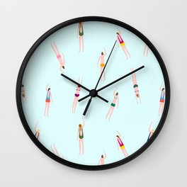Swimmers in the pool Wall Clock