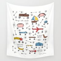 marc Wall Tapestries featuring things with wheels by Marc Johns