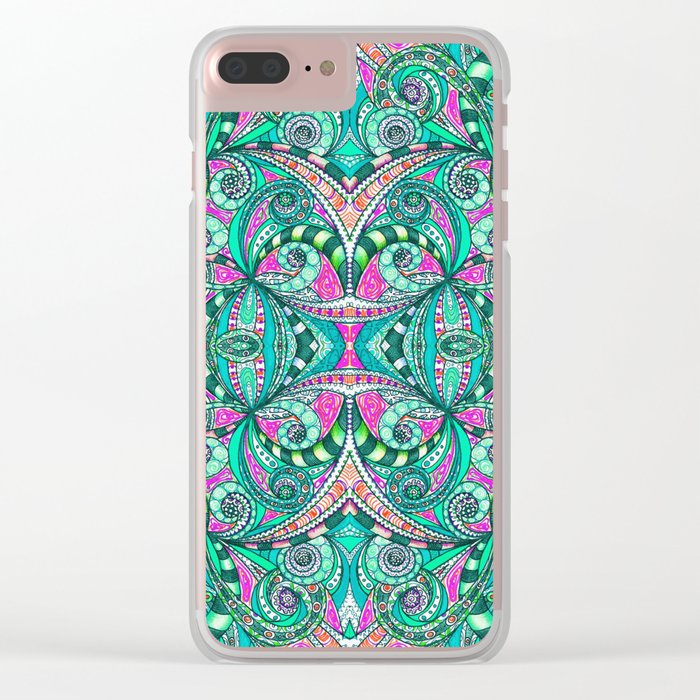 Drawing Floral Zentangle G207 Clear iPhone Case