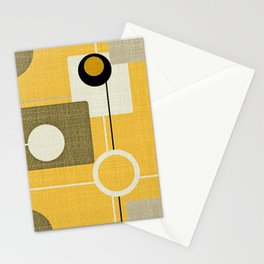 orbs and square gold yellow Stationery Cards