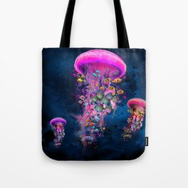 Floating Electric Jellyfish Worlds Tote Bag