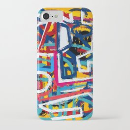 Yellow Life Graffiti Abstract Street Art by Emmanuel Signorino© iPhone Case