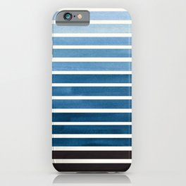 Watercolor Gouache Mid Century Modern Minimalist Colorful Green Blue Stripes iPhone Case