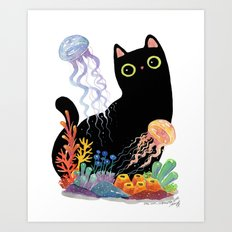the Aquarium Cat _ Jellyfish Art Print