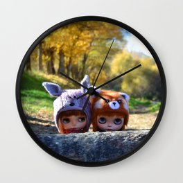 Honey & Robin - Autumn nature Wall Clock