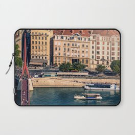 Aerial view of Lyon French cityscape with close-up on Saone river Laptop Sleeve