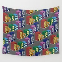 buildings Wall Tapestries featuring buildings by mike lett