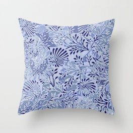 flowers and branches ,soft blue and silver accents Throw Pillow