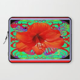 Italian  Style Design Red Amaryllis Abstract Laptop Sleeve